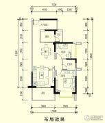 智弘银城绿洲2室2厅1卫87平方米户型图