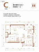 万科金色悦城2室2厅1卫63平方米户型图