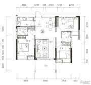 御品豪庭3室2厅2卫105平方米户型图