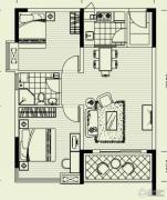 曦岛假日湾2室2厅1卫90平方米户型图