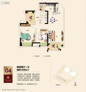 三水万达广场2室2厅1卫86平方米户型图