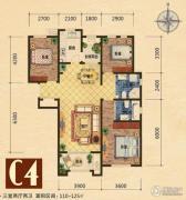 世嘉光织谷3室2厅2卫110平方米户型图