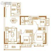武汉恒大城・悦湖公馆3室2厅1卫89平方米户型图