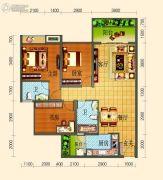 滨河壹号3室2厅2卫88平方米户型图