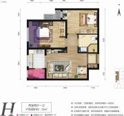 天朗大兴郡2室2厅1卫55平方米户型图