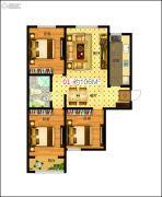 东润国际新城3室2厅1卫106平方米户型图