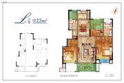 绿地萃雅院3室2厅2卫122平方米户型图