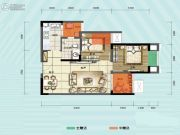 旭阳台北城敦美里2室1厅1卫54平方米户型图