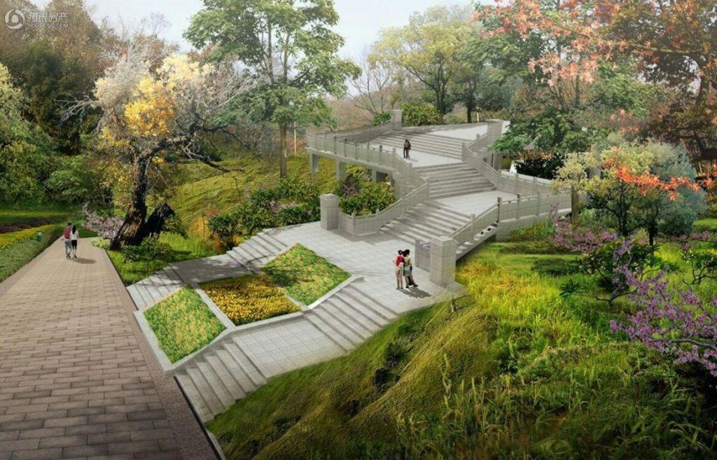 花溪公园跨桥阶梯效果图