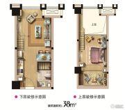 西海岸广场1室1厅1卫38平方米户型图