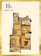 紫金艺境2室2厅2卫107平方米户型图