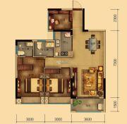 汇乔金色名都3室2厅2卫87平方米户型图