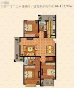 鹏欣水游城3室2厅2卫152平方米户型图