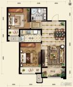 保利春天里2室2厅1卫84平方米户型图