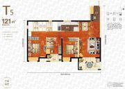 万科汉口传奇唐樾3室2厅2卫121平方米户型图