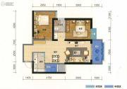 俊发盛唐城2室2厅1卫87平方米户型图