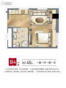 红旗景都1室1厅1卫45平方米户型图