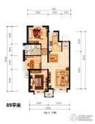 潮白河孔雀城盛景澜湾2室2厅1卫89平方米户型图