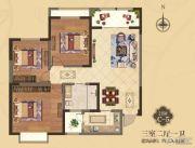 美伦・香颂3室2厅1卫108平方米户型图
