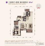 保利江上明珠畅园3室2厅0卫97平方米户型图