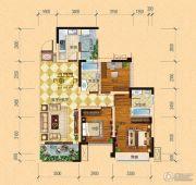 内江万达广场・中央华城3室2厅2卫88平方米户型图
