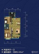 米兰国际2室1厅1卫89平方米户型图