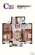 交通紫园3室2厅1卫89平方米户型图