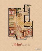 润天观湖国际3室2厅2卫144平方米户型图