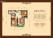 外海中央花园2室2厅1卫87平方米户型图