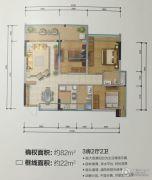 城市名庭3室2厅2卫82平方米户型图