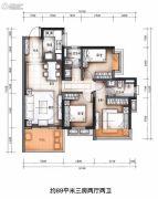 万科金域蓝湾3室2厅2卫89平方米户型图