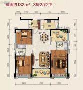 美的公园天下3室2厅2卫0平方米户型图
