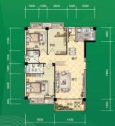 东和园3室2厅2卫96平方米户型图