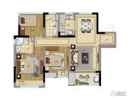 弘阳禹洲时光春晓3室2厅2卫89平方米户型图