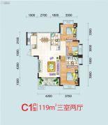 天润万象城3室2厅2卫119平方米户型图