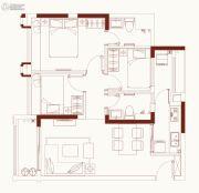 保利红馆3室2厅2卫77平方米户型图