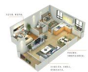 尚品爱琴海2室2厅1卫57平方米户型图
