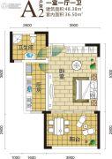 金手指白鹭湖1室1厅1卫48平方米户型图