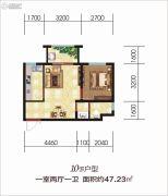 吉源美郡国际城1室2厅1卫47平方米户型图
