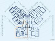 恒大御景半岛2室2厅2卫124平方米户型图
