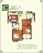 稽山御府天城3室2厅1卫93平方米户型图