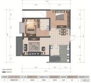 医大广场2室2厅2卫82平方米户型图