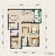 翱达公馆3室2厅2卫126平方米户型图