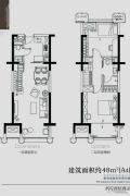 金基尚书里2室2厅2卫48平方米户型图