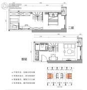涛汇广场2室2厅1卫28平方米户型图