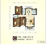 东方豪庭3室2厅2卫122平方米户型图