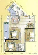 元邦明月水岸3室2厅1卫110平方米户型图