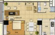 玉桥国际公寓1室2厅1卫60平方米户型图