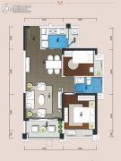 悠山美地花园2室2厅1卫76平方米户型图