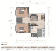 医大广场2室2厅1卫66平方米户型图